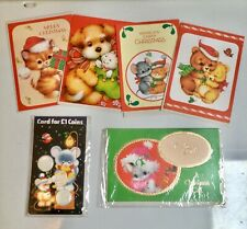 6 vintage christmas cards, 80s cute kitsch features 2 money cards still sealed.