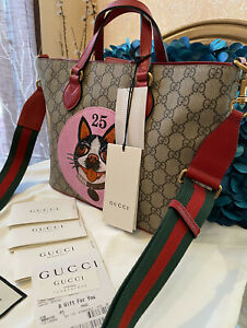 HOT! Authentic Gucci 473887 GG Supreme & Leather Bosco Small Tote Shoulder Bag