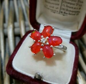 Natural Welo Red Opals Sterling Silver Ring  Cherry Opal, Size O, TGGC 925