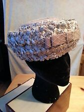 "Rare Vtg MILBRAE Hat Pillbox Straw Ribbon Weave Netting Mocha Church Wedding 22"""