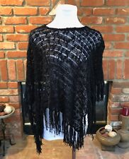 Boho CHIC Black Feminine Knit PONCHO Shawl Overlay Layer Cape Cover Top S