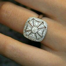 Antique Art Deco Engagement Wedding Ring 1.5Ct Round Diamond 14k White Gold Over
