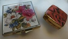 Vintage compact mirror and patch/pill box - floral design on golden metal