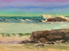 Twin Rock Beach Original Seascape Waves Expression Oil Painting 18x24 101417 KEN