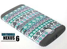 For Motorola Nexus 6 - HARD & SOFT RUBBER HYBRID CASE TEAL / GRAY AZTEC FLOWERS