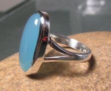 925 sterling silver oval blue chalcedony ring UK O½-¾/US 7.5-7.75. Gift bag.