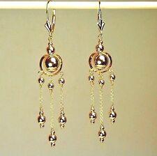 14k solid yellow gold drop/ dangle beautiful earrings leverback 2.1 grams