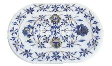 """9""""x12"""" Marble White Slab Tray Plate Rare Lapis Inlay Floral Valentine Table Deco"""
