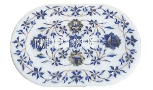 """9""""x12"""" Marble White Slab Tray Plate Rare Lapis Inlay Floral Special Table Gifts"""
