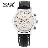 JARAGAR Date Leather Band Men Women Business Mechanical Automatic Wrist Watch