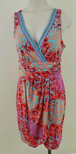 HALE BOB CABANA Womens Sz Medium Multi Color Beach Cover Up Sleeveless Dress EXC