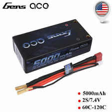 Gens Ace 5000mAh 60C 2S2P 7.4V Lipo Hardcase Battery Shorty Pack Losi Car Buggy