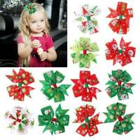 Lovely Kid Girl Christmas Holiday Gift Snowflake Ribbon Hair Bow Clip Hairpin