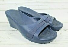 Crocs Women's Size 8 Blue Slip On Wedge Open Toe Sassari Sandal