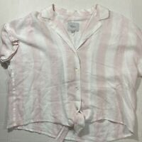 Rails Marley Lotus Stripe Tie Front Top Shirt Pink White Linen Blend Size S NWT