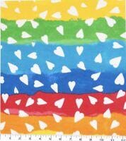 Rainbow Heart Stripe Super Snuggle Cotton Flannel BTY (YD)