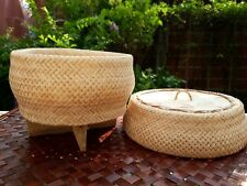 Thai Sticky Rice Cooker Steamer Bamboo Basket Lid Handcrafted FREE White Cloth