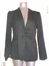 ZARA, SIZE LARGE BLACK & WHITE PINSTRIPE SINGLE BREASTED BLAZER/JACKET,PRE-LOVED