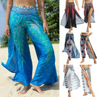 Women Yoga Harem Pants Thai Flowy Baggy Boho Gypsy Hippie Slit Beach Trousers G1