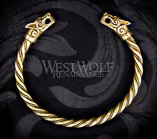 Viking Fenrir Wolf Bracelet/Torc/Torque --- Norse/Medieval/Jewelry/Skyrim/Gold