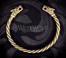 Viking Fenrir Wolf Bracelet/Torc/Torque --- Norse/Medieval/Jewelry/Skyrim/Gold