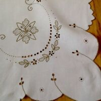 VINTAGE HAND EMBROIDERED OFF WHITE & TAUPE LINEN TABLECLOTH 33X34 INCHES