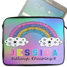 """Personalised Tablet Cover RAINBOW DREAM Neoprene Sleeve Case Girl 7"""" - 10"""" KS125"""