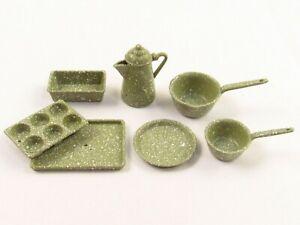 Chrysnbon, Judy Berman Miniature Green Granite Ware Kitchen Set E438