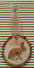 Engraved Rustic Wood with bark Rabbit Christmas Ornament