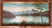 Vintage Oil On Board Lake Scene With Mountains Framed Painting