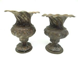 Antique Old Repoussé Hand Hammered Metal Copper Ornate Decorative Planters Vases