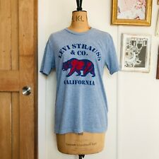 Levis Blue Bear Print California T-shirt Vintage Style Western Top Male Small
