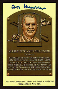 A B CHANDLER SIGNED Hall Fame Plaque HOF Yellow  Postcard Autographed  COA