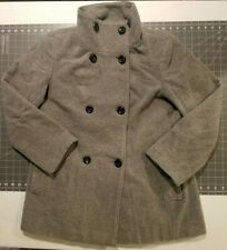Calvin Klein size 16 gray pea coat wool blend lined double breasted