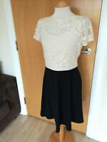 Ladies DPs Dress Size 12 Black Ivory Lace Top Party Evening Smart