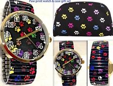 Paw Print Watch & Cosmetic Case Bag Multi-color Dog Cat Gift Combo