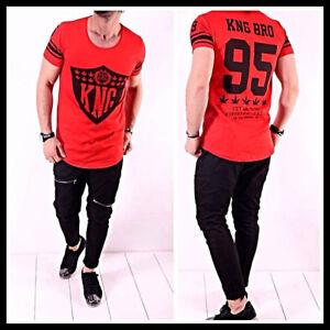 Oversize Basic T-Shirt Kurzarm Rot Herren Aufdruck Kurzarm Clubwear Lang SlimNEU