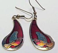 VTG FASHION GOLD TONE CLOISONNE RED BLUE ENAMEL BIRD EARRINGS DANGLE HOOK PIERCE