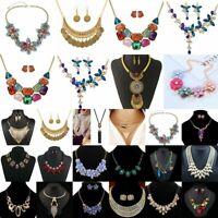 Fashion Women Flower Pendant Crystal Choker Chunky Statement Chain Bib Necklace