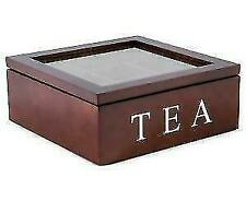 Unigift QD800 Wooden 9-Compartment Tea Box Storage Container - Brown