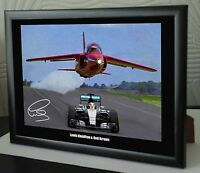 """Lewis Hamilton & The Red Arrows Mercedes Framed Canvas Print Signed """"Great Gift"""""""