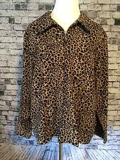 1830 Eighteen Thirty Plus 1X Casual Top Jacket Leopard Print Zip Front Brown