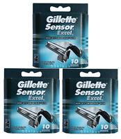 30er Gillette Sensor Excel Rasierklingen 3x10er Set Ecxel Gilette Gillete Gilete