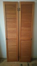 2 louvre doors wooden with brass plate handles and hinges 183cm x 38.3cm