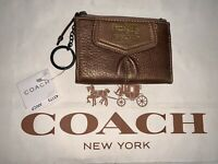 Coach 100% Authentic NWT Coin Purse Mini Wallet Metallic Brown Leather