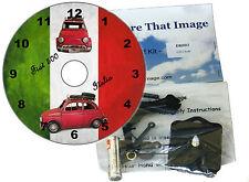 KIT FAI DA TE CD Orologio. FIAT 500 auto d'epoca sul muro TRICOLORE-O Clock da tavolo