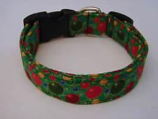 Charming Green Red Christmas Ornament Dog Collar X-Small