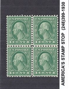 1920 US SC 542 10x11 George Washington 1c Green Block of 4 - MNH VF, Coil Waste