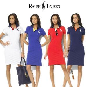 Womens Ralph Lauren Classic Polo Big Pony Logo Slim Fit Tops Dress