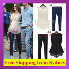 New Women Sleeveless Embroidery Lace Flared Fit Peplum Crochet Top Tee Blouse